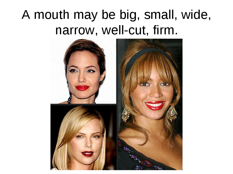 A mouth may be big, small, wide, narrow, well-cut, firm.