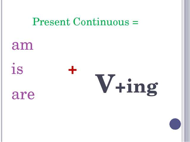 Present Continuous = am is + are V+ing