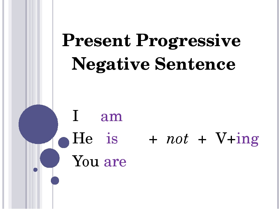 Present Progressive Negative Sentence I am He is + not + V+ing You are