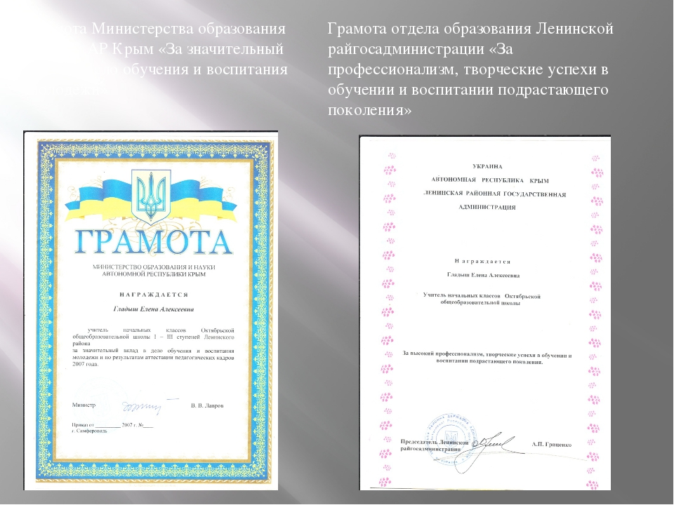 Грамота отдела образования Ленинской райгосадминистрации «За профессионализм,...
