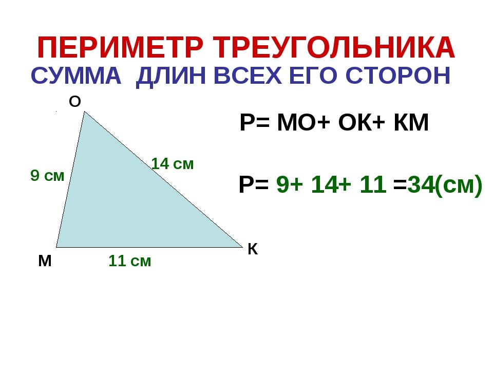 ПЕРИМЕТР ТРЕУГОЛЬНИКА СУММА ДЛИН ВСЕХ ЕГО СТОРОН М О К Р= МО+ ОК+ КМ 9 см 14...