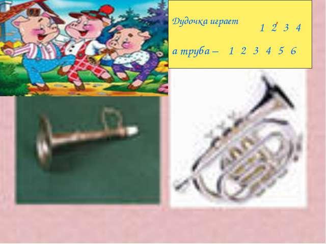 Дудочка играет , а труба – . 123456