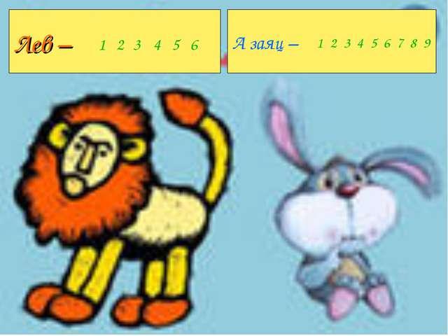 Лев – А заяц – 123456