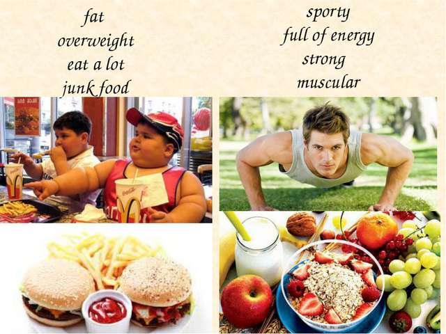 fat overweight eat a lot junk food sporty full of energy strong muscular