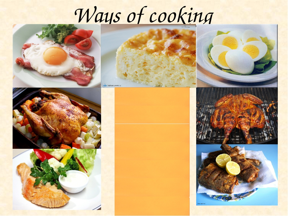 Ways of cooking fried eggs grilled chicken roast chicken steamed fish fried f...