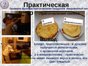 Практическая работа№3 Проверка функции приготовления продуктов микроволной пе