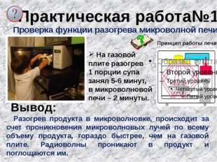 Практическая работа№1 Проверка функции разогрева микроволной печи. На газовой