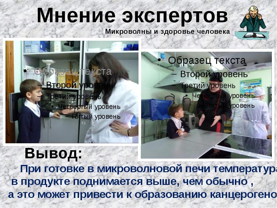 Мнение экспертов Вывод: При готовке в микроволновой печи температура в продук...