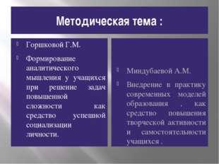 Методическая тема : Горшковой Г.М. Формирование аналитического мышления у уча