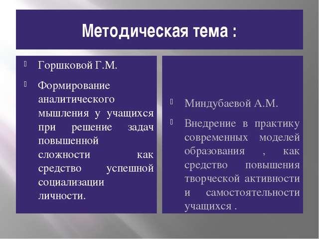 Методическая тема : Горшковой Г.М. Формирование аналитического мышления у уча...