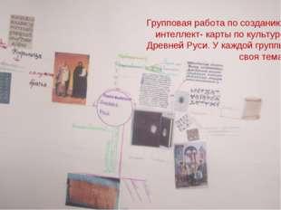 Групповая работа по созданию интеллект- карты по культуре Древней Руси. У каж