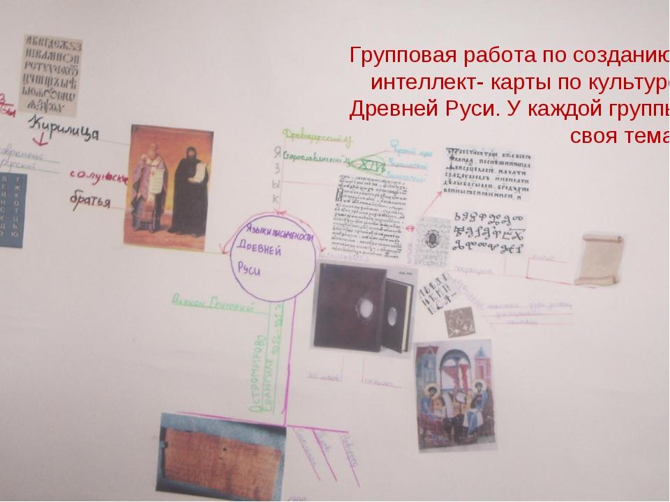 Групповая работа по созданию интеллект- карты по культуре Древней Руси. У каж...