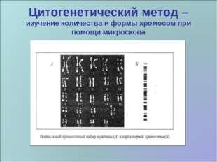Цитогенетический метод – изучение количества и формы хромосом при помощи микр