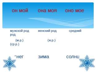 мужской род женский род средний род (м.р.) (ж.р.) (ср.р.) снег зима солнце он