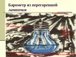 Барометр из перегоревшей лампочки Отверстие 2-3мм Вода до половины лампочки (
