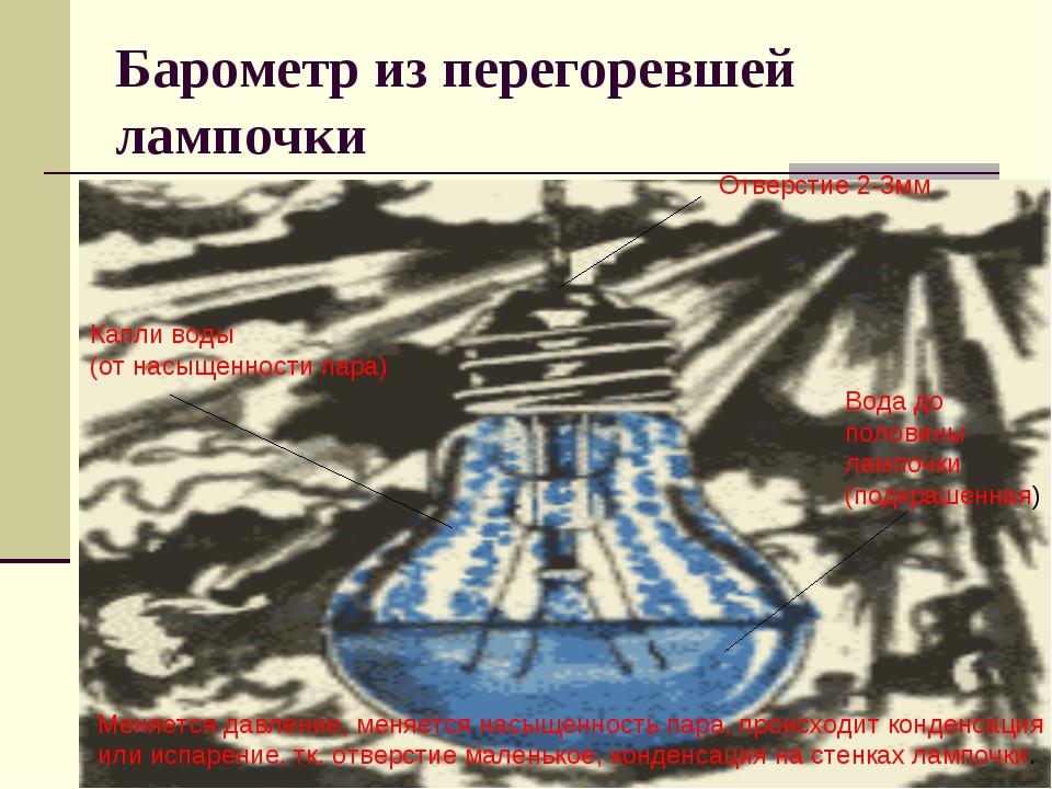 Барометр из перегоревшей лампочки Отверстие 2-3мм Вода до половины лампочки (...