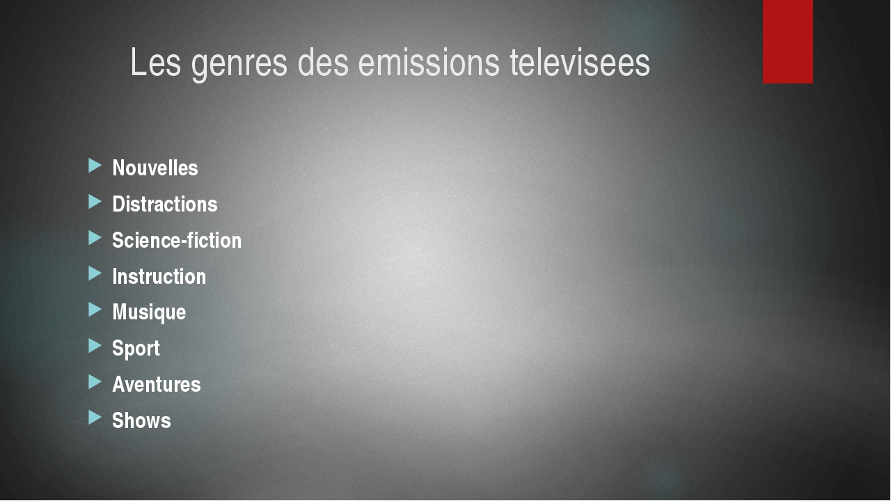 Les genres des emissions televisees Nouvelles Distractions Science-fiction In...