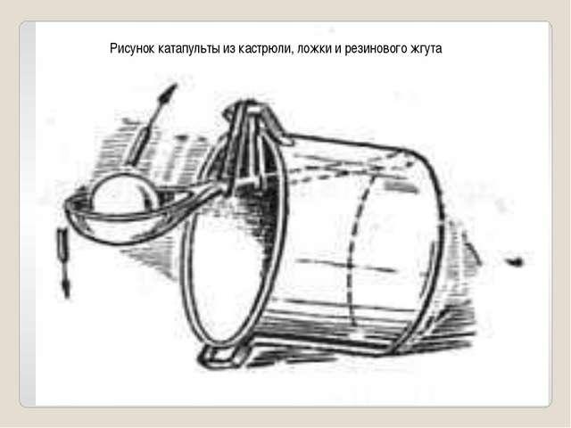 Рисунок катапульты из кастрюли, ложки и резинового жгута