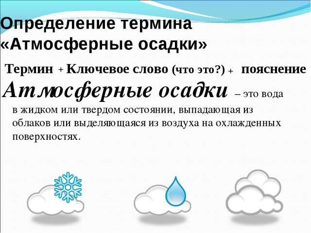 Определение термина «Атмосферные осадки» Атмосферные осадки – это вода в жидк...