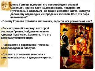 Опять Гринев в дороге, его сопровождает верный Савельич. Гринев едет на добро