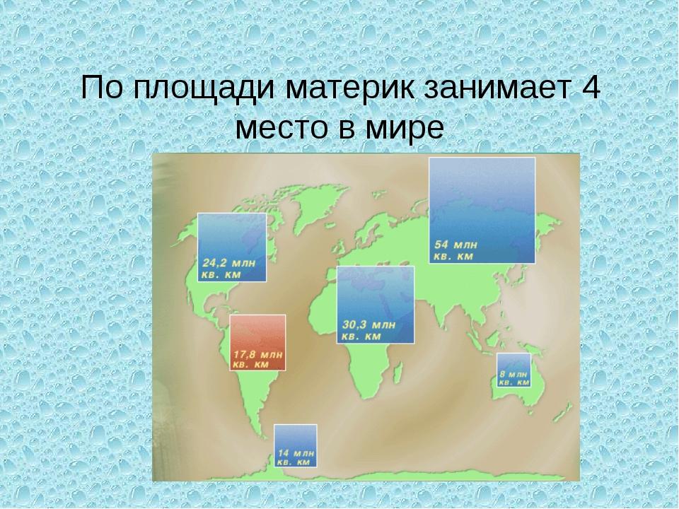 По площади материк занимает 4 место в мире