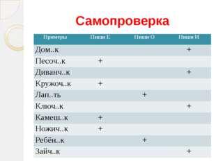 Самопроверка Примеры Пиши Е Пиши О Пиши И Дом..к + Песоч..к + Диванч..к + Кру