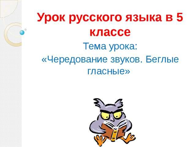 Урок русского языка в 5 классе Тема урока: «Чередование звуков. Беглые гласные»