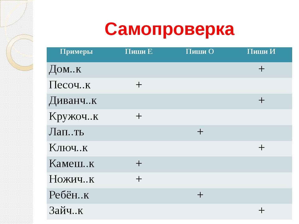 Самопроверка Примеры Пиши Е Пиши О Пиши И Дом..к + Песоч..к + Диванч..к + Кру...