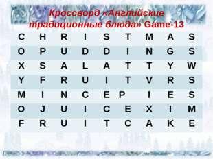 Кроссворд «Английские традиционные блюда» Game-13 C H R I S T M A S O P U D
