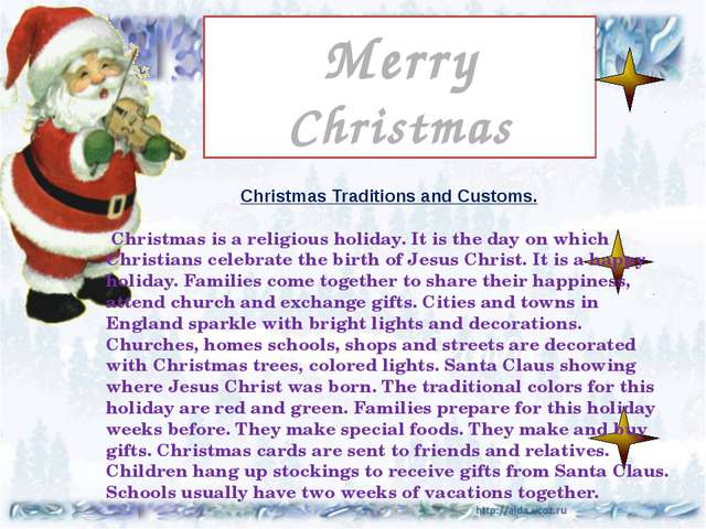 Праздник Рождества Merry Christmas Подготовила Christmas Traditions and Custo...