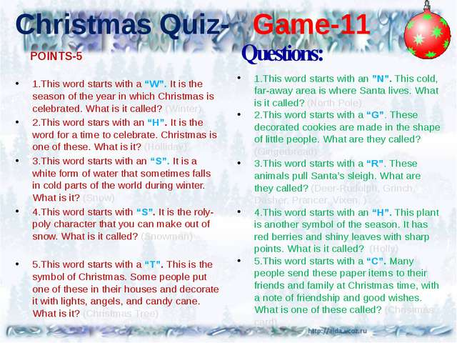 "Christmas Quiz- Game-11 1.This word starts with a ""W"". It is the season of th..."