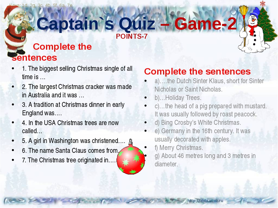 Captain`s Quiz – Game-2 Complete the sentences 1. The biggest selling Christ...