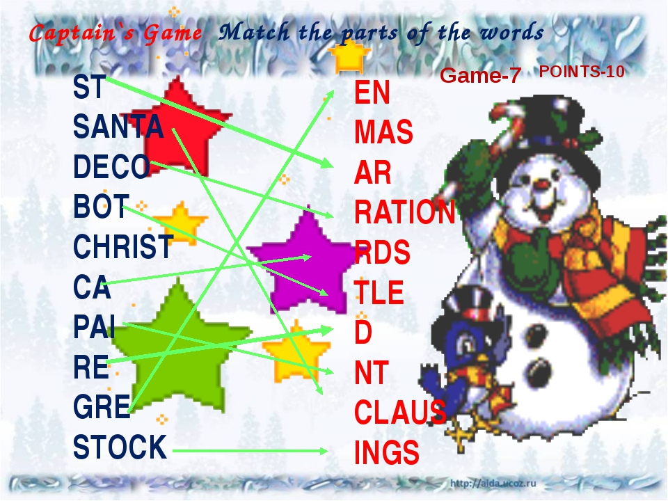 Captain`s Game Match the parts of the words ST SANTA DECO BOT CHRIST CA PAI R...