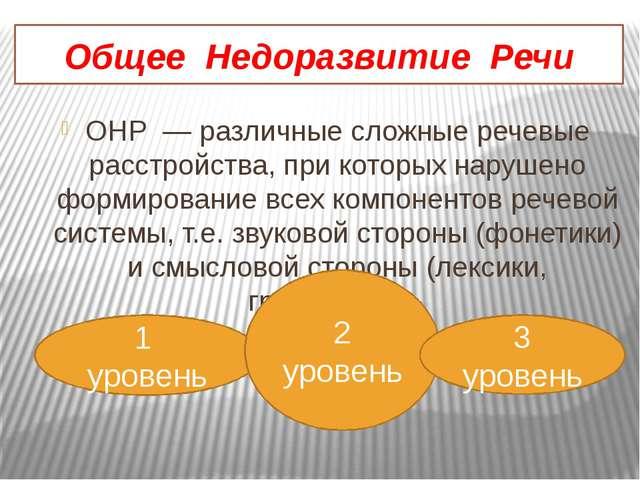 Общее Недоразвитие Речи ОНР — различные сложные речевые расстройства, при кот...