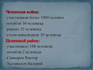 Чеченская война: -участвовали более 1000 человек -погибли 34 человека -ранено