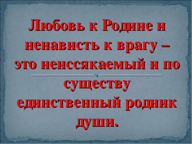 Любовь к Родине и ненависть к врагу – это неиссякаемый и по существу единстве...