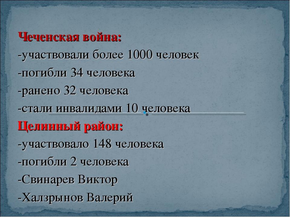 Чеченская война: -участвовали более 1000 человек -погибли 34 человека -ранено...