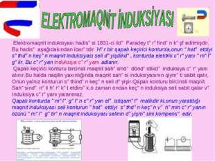 Elektromaqnit induksiyası hadisəsi 1831-ci ildə Faradey tərəfindən kəşf edil