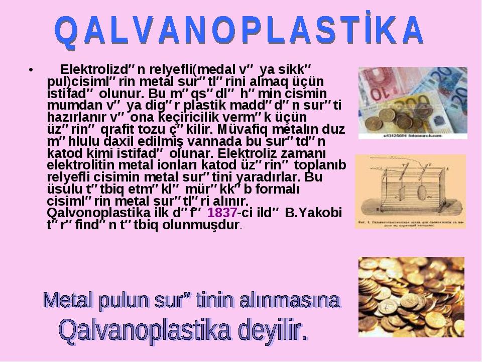Elektrolizdən relyefli(medal və ya sikkə pul)cisimlərin metal surətlərini al...