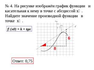 Ответ: 0,75 f׳(x0) = k = tgα № 4. На рисунке изображён график функции и кас
