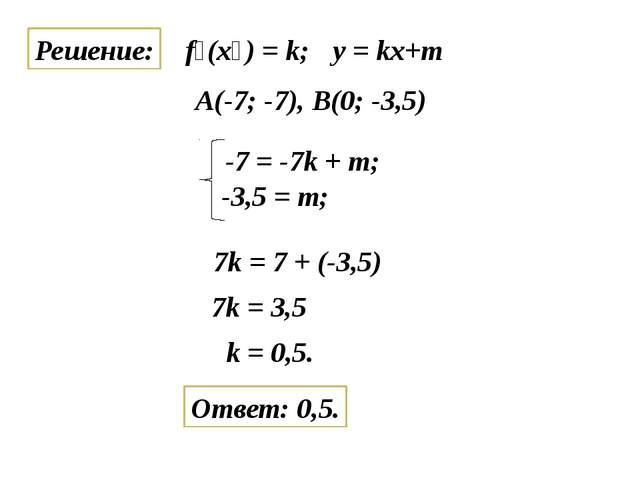 Решение: А(-7; -7), В(0; -3,5) Ответ: 0,5. -7 = -7k + m; -3,5 = m; 7k = 7 + (...
