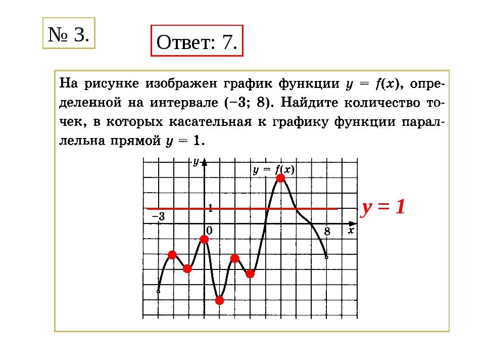 Ответ: 7. № 3. y = 1