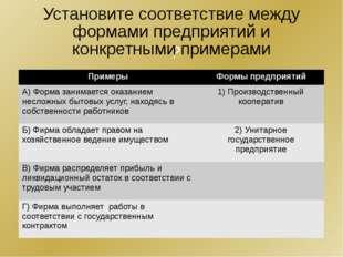 ? Установите соответствие между формами предприятий и конкретными примерами П
