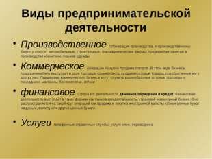 Виды предпринимательской деятельности Производственное организация производст