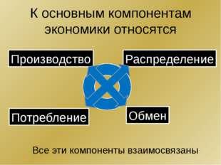 К основным компонентам экономики относятся Производство Распределение Потребл