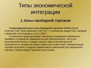 Типы экономической интеграции Таможенный союз в рамках Евразийского экономиче