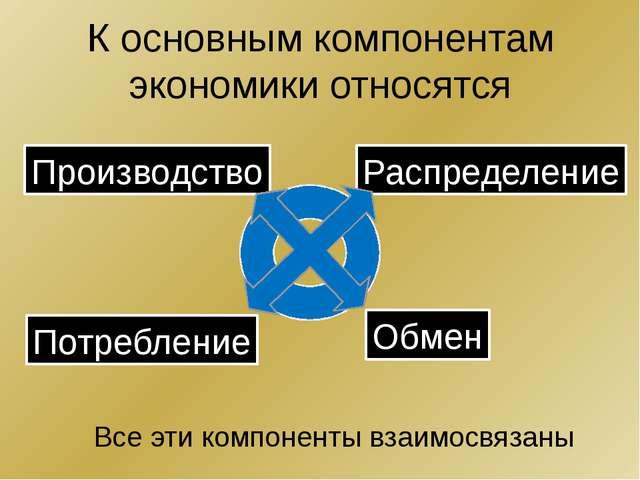 К основным компонентам экономики относятся Производство Распределение Потребл...