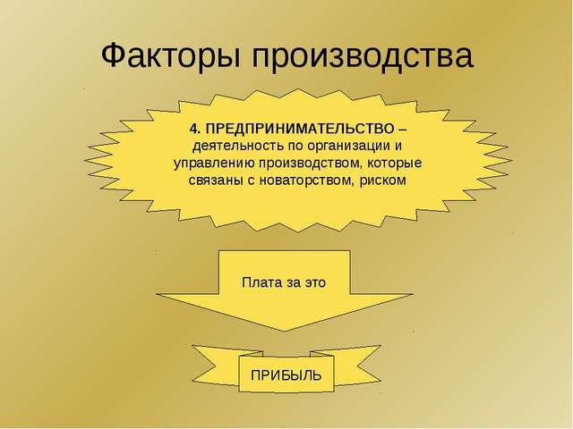 Факторы производства 4. ПРЕДПРИНИМАТЕЛЬСТВО – деятельность по организации и у...