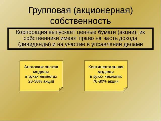 Групповая (акционерная) собственность Корпорация выпускает ценные бумаги (акц...