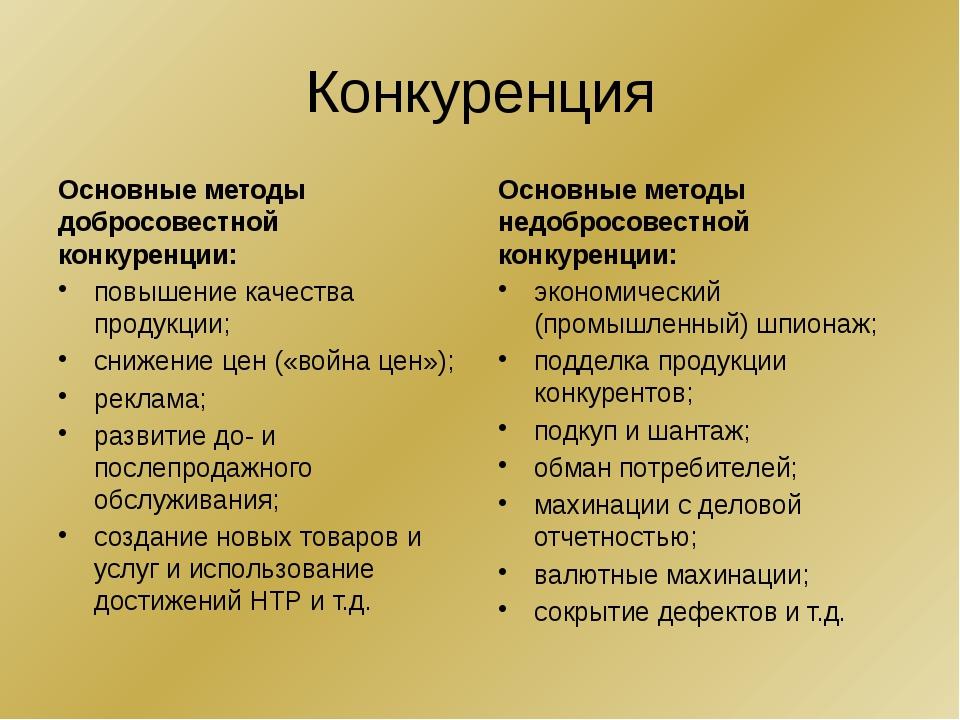 Конкуренция Основные методы добросовестной конкуренции: повышение качества пр...